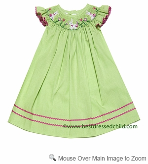 Vive la Fete Collection Bebe Girls Green Microcheck Smocked Flowers / Bunnies Bishop Dress