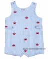 Cotton Kids Baby / Toddler Boys Blue Seersucker / Red Embroidered Crabs Sunsuit