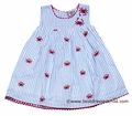 Cotton Kids Infant / Toddler Girls Blue Seersucker Dress with Red Crabs Embroidery