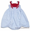 Cotton Kids Girls Blue Seersucker Sun Dress - Red Crab Bodice / Rope Straps
