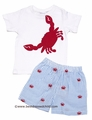 Cotton Kids Toddler Boys Blue Seersucker / Red Crabs Shorts with Red Crab on White Shirt