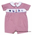 Collection Bebe by Vive la Fete Infant Boys Red Check Smocked Nautical Romper