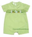 Vive la Fete Collection Bebe Boys Green Microcheck Smocked Easter Bunnies Romper