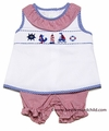 Collection Bebe by Vive la Fete Baby Girls Smocked Nautical / Red Check Bloomers Set