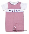 Collection Bebe by Vive la Fete Baby / Toddler Boys Red Check Smocked Sailing Shortall with Shirt