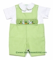 Collection Bebe / Vive la Fete Baby Boys Green Microcheck Smocked Easter Bunnies Shortall with Shirt