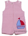 Petit Ami Baby Boys Red Seersucker Shortall with Applique Sailboat