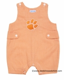 Vive la Fete Collegiate NCAA Boys Orange Gingham Clemson Tiger Paw Sunsuit