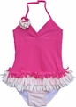 Isobella & Chole Ciao Bella Girls Fuchsia Pink Tahiti Fringed Halter One Piece Swimsuit