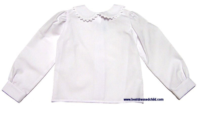 Funtasia Too Girls Short Sleeve White Blouse with Peter Pan Collar