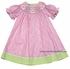 Anavini Girls Pink Dots Smocked Easter Bunny Bishop Dress - Green Trim