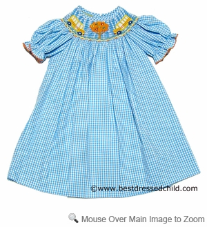 Anavini Velani Classics Girls Turquoise Check Smocked School Days BISHOP Dress