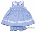 Glorimont Infant Baby Girls Light Blue Pique Sleeveless Dress with Rococo Trim and Bloomers