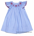 Petit Bebe by Anavini Infant / Toddler Girls Smocked Red Crabs / Anchors on Blue Stripe Dress