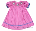 Candyland Kid Baby / Toddler Girls Hot Pink / White Dots Smocked Owls Bishop Dress