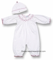 Petit Ami Newborn Baby Girls Soft White Cotton Knit Convertible Bag / Romper - Smocked in Red - with Hat