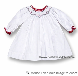 Petit Ami Infant Baby Girls Sweet White Christmas Dress - Smocked in Red / Green