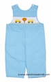 Anavini Velani Classics Baby / Toddler Boys Turquoise Checks Smocked School Day / Yellow Bus LONGALL
