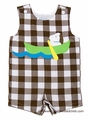 Funtasia Too Infant / Toddler Boys Dog in Canoe on Brown Checks Shortall