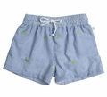 Snapping Turtle Kids Baby / Toddler Boys Nantucket Blue Seersucker / Green Turtle Embroidery Swim Trunks