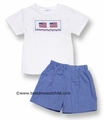 Silly Goose Boys Royal Blue Gingham Shorts with Smocked American Flags on White Shirt