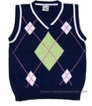 Glorimont Boys Navy Blue / Green / White Argyle Sweater Vests