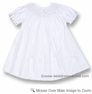 Rosalina Baby / Toddler Girls Sweet White Bishop Dress - Smocked Christening / Easter Cross
