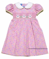 Anavini Girls PInk / Multi Dots Smocked Easter Bunnies Dress with Collar