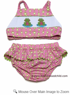 Claire & Charlie Girls Pink / Green Dots Smocked Frog Swimsuit - BIKINI