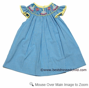 Clair & Charlie Infant Baby Girls Turquoise Mini Gingham Smocked Birthday Party Hats Bishop Dress