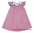 Collection Bebe Vive la Fete Girls Red Gingham Smocked Nautical Sailing Theme Dress