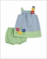 Florence Eiseman Infant Baby Girls Blue / Green Junior Pincord Flower Applique Bloomers Set