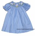 Clare and Charlie Girls Light Blue with Mini Dots Smocked Jumping Easter Bunnies - BISHOP Dress