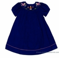 Vive la Fete Girls Royal Blue Corduroy Smocked Nutcracker Ballet - Christmas Bishop Dress