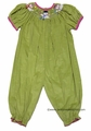 Vive la Fete Infant Baby Girls Green Corduroy Smocked Snowman with Winter Scarves - Long Bubble