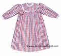 RU Sleeping Holiday Sleepwear - Girls Red Hearts / Stripes Tyrolean Pattern Nightgowns - Like Lanz