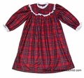 RU Sleeping RED Holiday Plaid Sleepwear - Girls Eyelet Trim Round Yoke Nightgown - Like Lanz