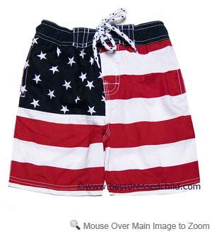 E Land Kids Boys Patriotic Red / Navy Blue Stars & Stripes Flag Swim Trunks