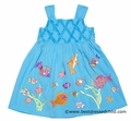 Cotton Kids Girls Turquoise Blue Embroidered Fish Sun Dresses
