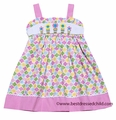 Cukees Girls Pink Spring Floral Smocked Flowers Sun Dress