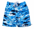 E Land Kids Boys Shades of Blue Sharks Print Swim Trunks