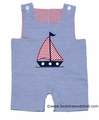 Monday's Child Baby / Toddler Boys REVERSIBLE Shortall - Blue Stripe with Sailboat / Red Check with Monogram Tab