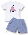 Mondays Child Boys Sailboat Applique Shirt with REVERSIBLE Blue Stripes / Red Check Shorts