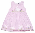Cotton Kids Baby / Toddler Girls Sleeveless Pink Striped Easter Bunny Dress