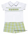 Claire & Charlie Baby / Toddler Boys Green / Blue Plaid Smocked Argyle Shorts Set