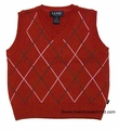 E Land Kids Boys V-Neck Sweater Vest - Christmas RED