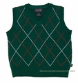 E Land Kids Boys V-Neck Holiday Sweater Vest - Dark GREEN
