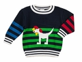 Florence Eiseman Toddler Boys Navy Blue / Multi Intarsia Dog Sweater
