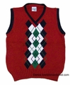 Glorimont Boys Christmas Red Sweater Vest with Navy Blue / Green Argyles