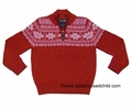Eland Kids Boys Christmas Red Nordic Snowflake Half-Zip Sweater